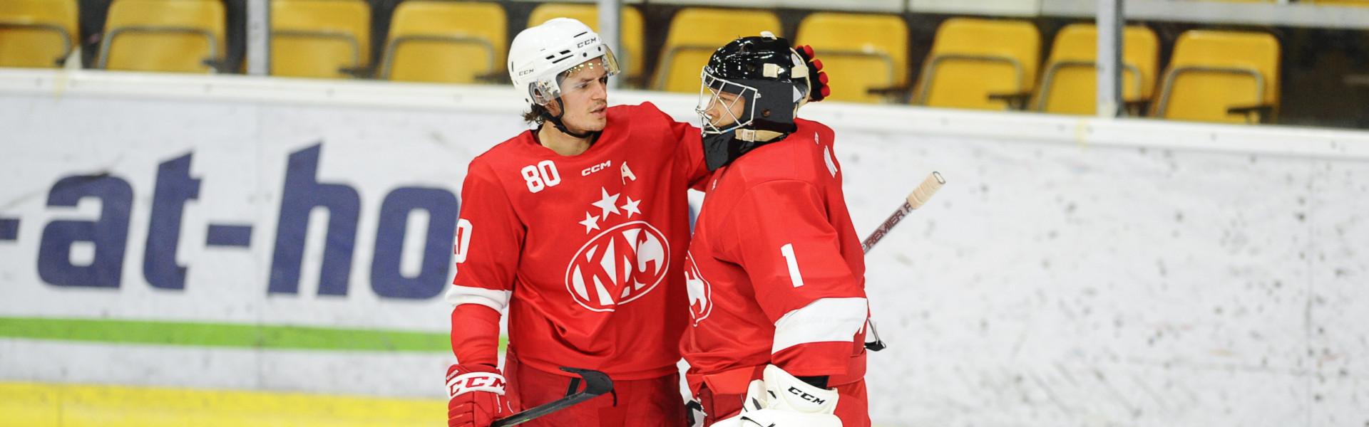 Torhüter Niki Kraus und Goalie Val Usnik