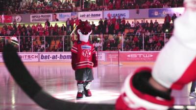 Rotjacken-Maskottchen Lindi beim Heimspiel gegen Wien