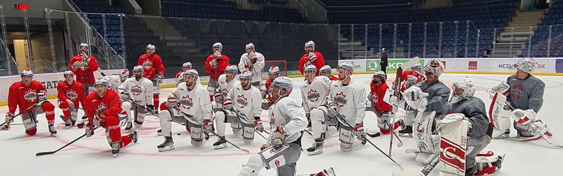 Die Capitals beim Training in ihrer Heimstätte, dem Zimný štadión Ondreja Nepelu